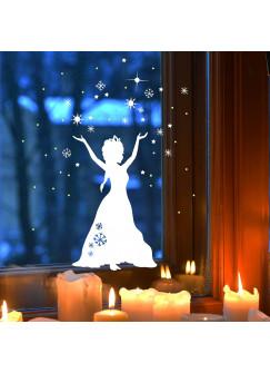 Fensterbild Fensterdeko Schneekönigin Prinzessin Sterne Schnee M1678