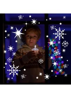 Fensterbild Fensterdeko Schneekristalle Schneeflocken Schnee Sterne Set 100 Teile M1679