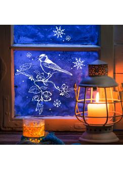 Fensterbild Fensterdeko Schneeflocken Meise auf Zweig M1680