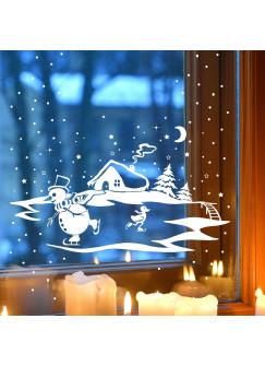 Fensterbild Fensterdeko Winter mit Schneemann Ente und Schneeflocken M1703