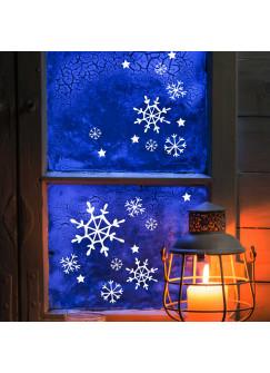Fensterbild Fensterdeko Schneekristalle Schneeflocken M1707