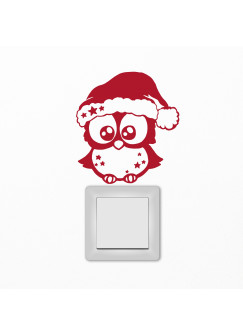 Lichtschaltertattoo Wandtattoo Weihnachtseule Eule zur Weihnacht M1724