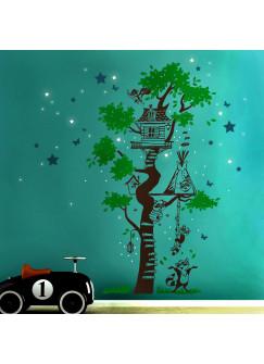 Wandtattoo Baumhaus mit Waschbären Sternen und Schmetterlingen dreifarbig nachtleuchtend M1793f