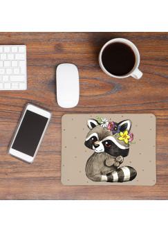 Mousepad Mouse Pad Mausunterlage kleiner Waschbär mit Punkten mp18