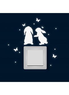 Lichtschaltertattoo Wandtattoo Hasen mit Schmetterlinge und Punkten Ostern M1878
