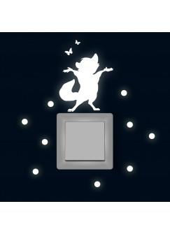 Lichtschaltertattoo Wandtattoo Waschbär mit Schmetterlingen und Punkten M1879