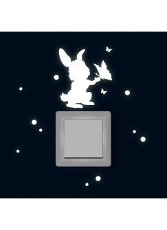 Lichtschaltertattoo Wandtattoo Hase mit Schmetterlingen und Punkten fluoreszierend M1884