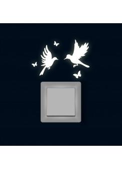 Lichtschaltertattoo Wandtattoo Kolibris mit Schmetterlingen fluoreszierend M1886