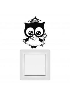 Lichtschaltertattoo Wandtattoo Eule Eulchen Prinzessin Königin mit Krone M1947