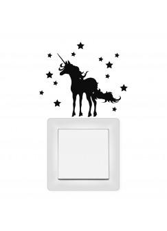Lichtschaltertattoo Wandtattoo Einhorn mit Sternen M1948