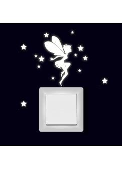 Lichtschaltertattoo Wandtattoo Aufkleber Fee Elfe mit Sternen fluoreszierend M1996