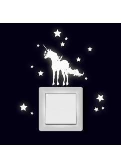 Lichtschaltertattoo Wandtattoo Aufkleber Einhorn mit Sternen fluoreszierend M1997