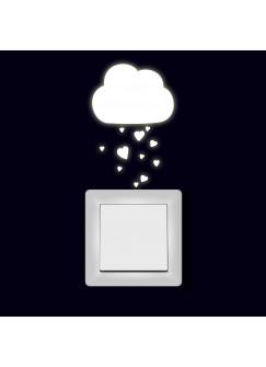 Lichtschaltertattoo Wandtattoo Aufkleber Wolke mit Herzen fluoreszierend M1998