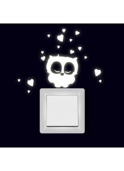 Lichtschaltertattoo Wandtattoo Aufkleber schlafende Eule mit Herzen fluoreszierend M1999