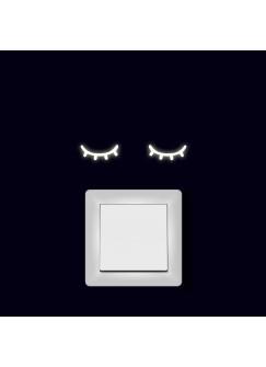 Lichtschaltertattoo Wandtattoo Aufkleber sleeping eyes schlafende Augen Kawai fluoreszierend M2000