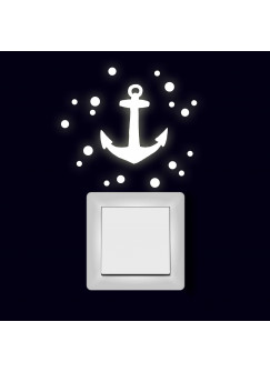 Lichtschaltertattoo Wandtattoo Aufkleber Anker mit Punkten fluoreszierend M2001