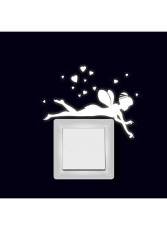 Lichtschaltertattoo Wandtattoo Aufkleber Elfe Fee liegend mit Herzen fluoreszierend M2002