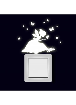 Lichtschaltertattoo Wandtattoo Aufkleber Elfe Fee auf Wiese mit Sterne und Schmetterling fluoreszierend M2003