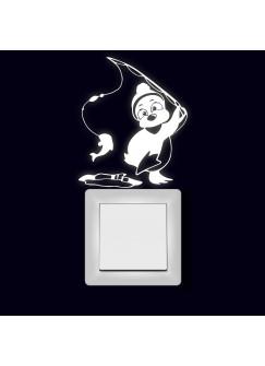 Lichtschaltertattoo Wandtattoo Aufkleber Pinguin beim Eisangeln fluoreszierend M2004