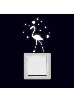 Lichtschaltertattoo Wandtattoo Aufkleber Vogel Flamingo mit Herzen fluoreszierend M2005