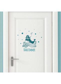 Türaufkleber Wal Pirat mit Wellen Punkten und Wort Badezimmer M2028