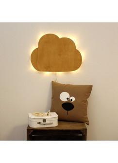 Wandlampe Kinderlampe Wolke Schlummerlampe Naturfarben gebeizt M2034