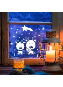 Fensterbild Rentiere mit Sternen & Sternschnuppe M2040