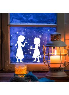 Fensterbild Fensterdeko Prinzesinnen mit Schneeflocken und Sternen M2041