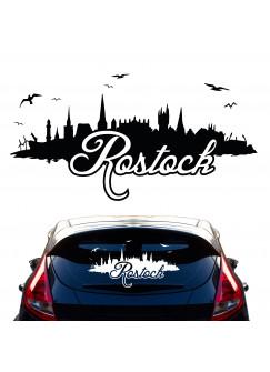 Autoaufkleber Autotattoo Autosticker Heckscheibenaufkleber Rostock Skyline mit Hafen Stadion Möwen und Schriftzug Rostock M2151