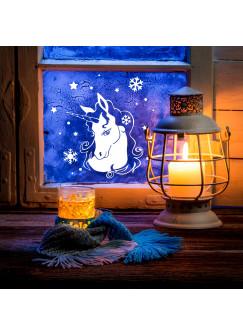Fensterbild Wandtattoo Einhorn im Winter Fensterdeko Schneeflocken Sterne und Punkte M2250
