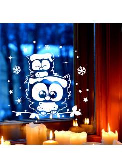 Fensterbild Wandtattoo Eulen Eulchen auf Zweig Fensterdeko Schneeflocken Sterne und Punkte M2251