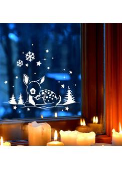 Fensterbild Wandtattoo Reh im Schnee Deko Winter Fensterdeko Schneeflocken Sterne und Punkte M2252