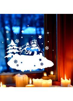 Fensterbild Wandtattoo Waschbär & Eule Deko Winter Fensterdeko Schneeflocken Sterne und Punkte M2253