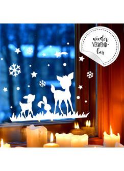 """Fensterbild Rehe & Hase Fensterdeko Winterlandschaft + Sterne & Schneeflocken """"selbstklebend & wiederverwendbar"""" für Kinder M2254"""