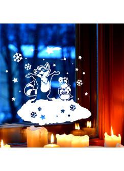 Fensterbild Eulen & Waschbär Fensterdeko Winterlandschaft + Sterne & Schneeflocken selbstklebend für Kinder M2255