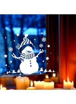 Fensterbild Schneemann & Bäume Fensterdeko Winterlandschaft + Sterne & Schneeflocken selbstklebend für Kinder M2257