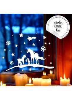Fensterbild Einhörner Winter -WIEDERVERWENDBAR- Fensterdeko Einhorn Fensterbilder Winterlandschaft + Sterne & Schneeflocken M2259