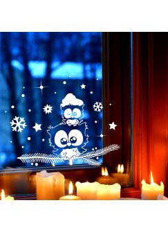 Fensterbild Eule Eulchen auf Zweig Fensterdeko Fensterbilder Winter + Sterne & Schneeflocken selbstklebend für Kinder M2260