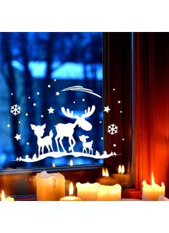 Fensterbild Elch & Rehe Fensterdeko Fensterbilder Winter + Sterne & Schneeflocken selbstklebend für Kinder M2261