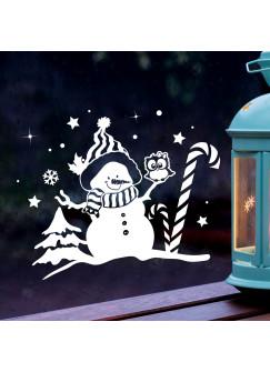 Fensterbild Schneemann & Eule Fensterdeko Winterlandschaft + Sterne & Schneeflocken selbstklebend für Kinder M2262