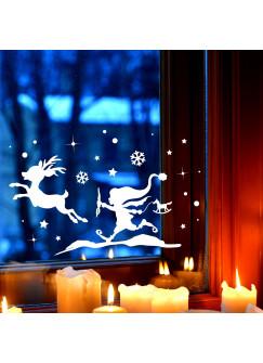 Fensterbild Wichtel & Rentier Winter Fensterdeko Fensterbilder Winterlandschaft + Sterne & Schneeflocken M2266