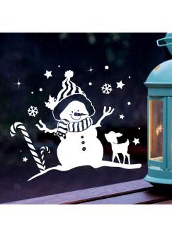 Fensterbild Schneemann & Reh Winter Fensterdeko Fensterbilder Winterlandschaft + Sterne & Schneeflocken M2268