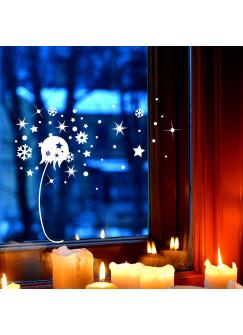 Fensterbild Pusteblume & Schneeflocken Fensterdeko Fensterbilder Winterlandschaft + Sterne & Schneekristalle M2272
