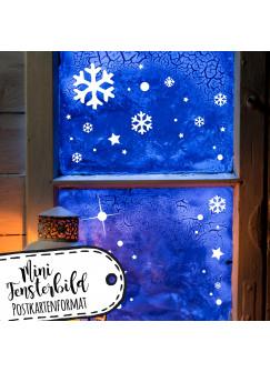 Mini Fensterbild A6 Schneeflocken & Sterne Fensterdeko Fensterbilder Winter Schneekristalle + Sterne M2284