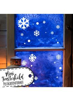 Mini Fensterbild A6 Schneeflocken & Punkte Fensterdeko Fensterbilder Winter Schneekristalle + Punkte M2285