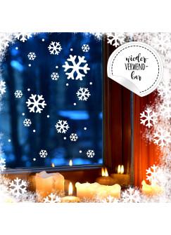Fensterbild Schneeflocken & Punkte -WIEDERVERWENDBAR- Fensterdeko Fensterbilder Winter Schneekristalle + Punkte M2288