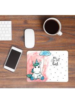 Mousepad Maouse Pad Mausunterlage mit Einhorn Wolke und Spruch weil du toll bist mp23