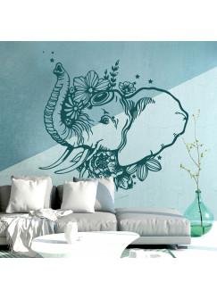 Wandtattoo indischer Elefant Wanddeko Indien orientalisch spirituell für Schlafzimmer oder Wohnzimmer M2408