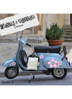 Moped Aufkleber Hibiskus Blumen M683