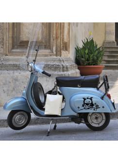 Moped Aufkleber Eule auf Ast mit Blumen M685